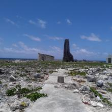 View across Sombrero Island showing vegetation on old industrial workings associated with past phosphate mining, - note the date the photo was taken is unknown, not as given