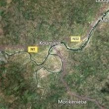 Vue aérienne du fleuve Niger à koumana - Kouroussa