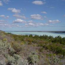 View southwest across Lac Tsimanamsotsa from escarpment.