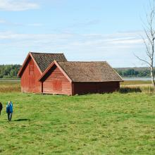 Old hay barns close to the lake Fläckesjön and its shore meadows.