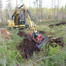 Restoration of hydrology: Excavator filing ditch