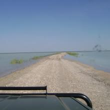 Causeway across Fischer's Pan flooded by exceptionally high water levels.