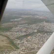 Vista aérea de Tarimoya, Las Conchas y la de atrás no había sido identificada en este trabajo. Enero 2004.