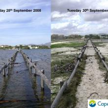 Images of breaching of the Bot River Estuary including pre and post breaching.