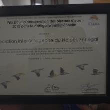 Prix AEWA 2015 décerné à l'Association Inter-villageoise du Ndiaël(AIV)