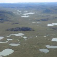 Rocky hills on the raised seabed, where numerous ponds and lakes are found.